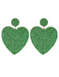 Fashion Green Felt Cloth Rice Beads Love Earrings
