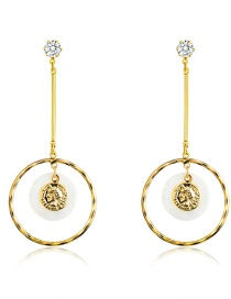 Fashion Real Gold Alloy Shell Rhinestone Round Earrings