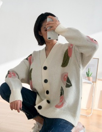 Fashion White Knitting Sweater With Leaves Flowers