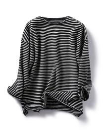 Fashion Black Striped Pullover