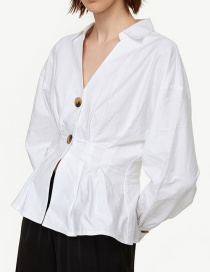 Fashion White V-neck Open Shirt
