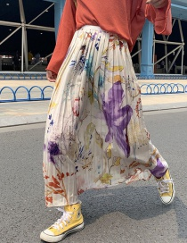 Fashion Color Floral Print Pleated Silk Skirt