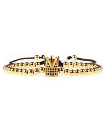 Fashion Gold Micro-encrusted Zircon Color Retention 4mm Solid Steel Ball Woven Bracelet