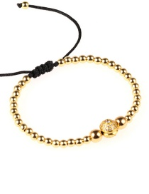 Fashion Gold Real Gold Plated Solid Copper Beads Micro-inlaid Zircon Bracelet