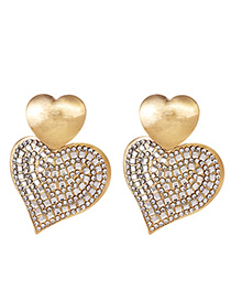 Fashion Drill Alloy Pearl Diamond Heart Earrings