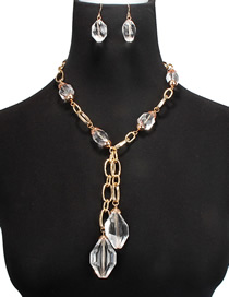 Fashion Gold Acrylic Aluminum Chain Transparent Necklace