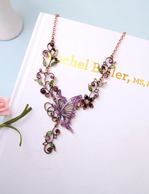 Fashion Purple Flower Butterfly And Diamond Necklace
