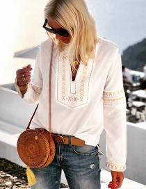 Fashion White Printed Half-neck Shirt