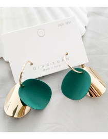 Fashion Green Geometric Round Contrast 925 Silver Stud Earrings