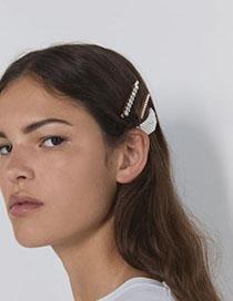 Fashion White Alloy Diamond Pearl Hair Clip Set