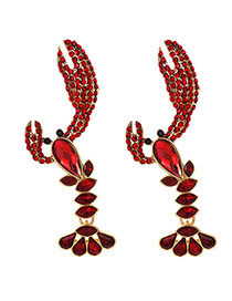 Fashion Red Alloy Diamond Crayfish Earrings