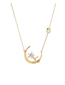 Fashion Gold Zircon Moon Pearl Necklace