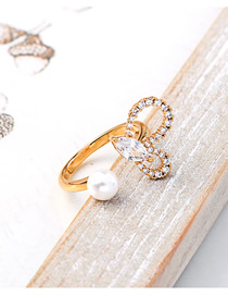 Fashion Gold Diamond-shaped Heart-shaped Open Ring