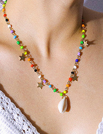 Fashion Color Beaded Shell Star Geometric Necklace
