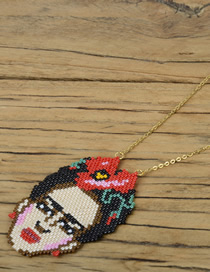 Fashion Color Rice Beads Woven Vacuum Plating Color Protection Necklace