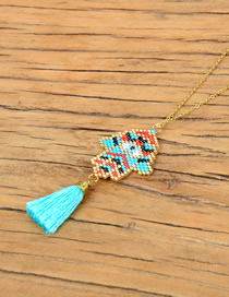 Fashion Blue Rice Beads Woven Palm Necklace