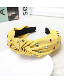 Fashion Yellow Cloth Knotted Color Diamond Headband