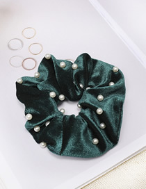 Fashion Dark Green Gold Velvet Fabric Nail Pearl Hair Ring