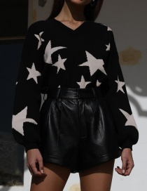 Fashion Black Knit V-neck Five-pointed Star Top