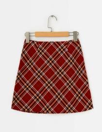 Fashion Red Plaid Skirt