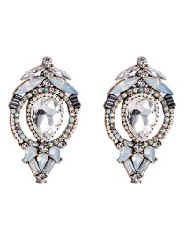 Fashion White Acrylic Diamond Earrings