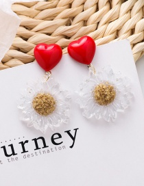 Fashion Red Love Daisy Translucent Acrylic Earrings