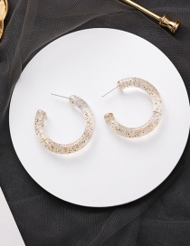 Fashion Small Transparent White Geometric Circle Acrylic Sequins C-shaped Earrings
