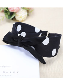 Fashion Black Dotted Wide-edge Cross-stitched Bow Headband