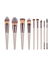 Fashion Champagne Gold 9 Stick Makeup Brush