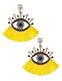 Fashion Yellow + White Alloy Diamond Pierced Eye Tassel Earrings