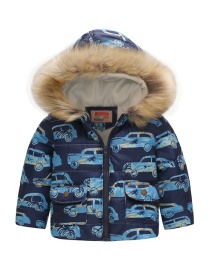 Fashion Blue Car Printed Hooded Children's Cotton Coat