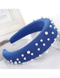 Fashion Sapphire Milk Silk Bead Sponge Wide-brimmed Headband