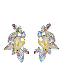 Fashion Ab Color Alloy Studded Geometric Earrings