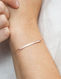 Fashion Rose Gold Stainless Steel Geometric Strip Bracelet