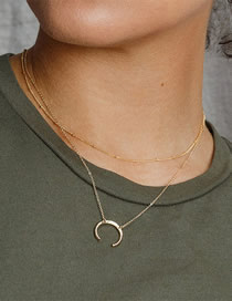 Fashion Gold Double Stainless Steel Moon Necklace