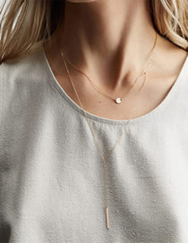 Fashion Gold Stainless Steel Geometric Double-layer Necklace
