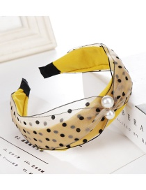 Fashion Yellow Polka Dot Mesh Pearl Wide Cross Headband