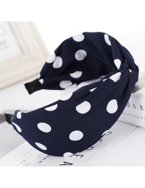 Fashion Navy Dot Cross Wide Headband