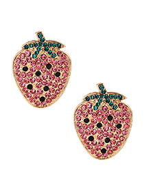 Fashion Pink Alloy Studded Strawberry Stud Earrings