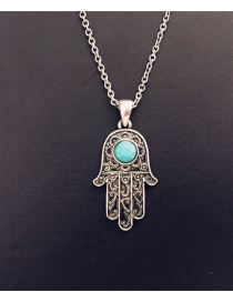 Fashion Ancient Silver Alloy Transfer Palm Inlaid Turquoise Necklace
