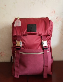 Fashion Red Wine Waterproof Nylon Multi-function Backpack