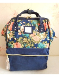 Fashion Leaf Blue Anti-theft Backpack