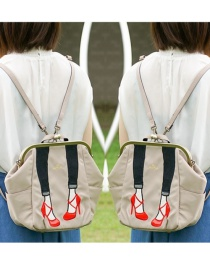 Fashion Creamy-white Beautiful Leg Embroidery Clip Shoulder Portable Backpack