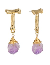 Fashion Purple Natural Stone Letter Wrap Natural Stone Earrings
