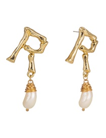 Fashion Natural Freshwater Pearl English Alphabet Natural Freshwater Pearl Earrings