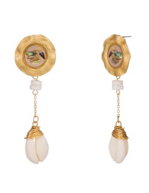 Fashion Pink Drop Oil Color Shell Wrapped Natural Shell Earrings