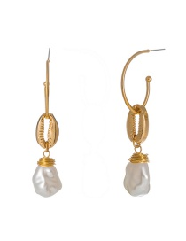 Fashion Gold Metal Baker Shaped Pearl Earrings