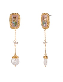 Fashion Gold Colorful Seashell Woven Natural Freshwater Pearl Earrings