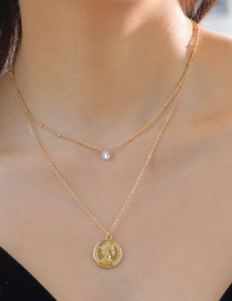 Fashion Gold Double-layer Empress Coin Double-sided Single-hole Zirconium Diamond Necklace