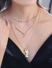 Fashion Gold V Word Chain Edging Crystal Shaped Tag Multi-layer Necklace
